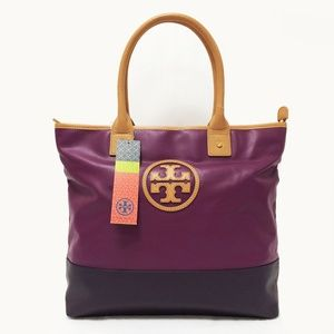 NWT Tory Burch Jaden Violet Canvas Tote Bag